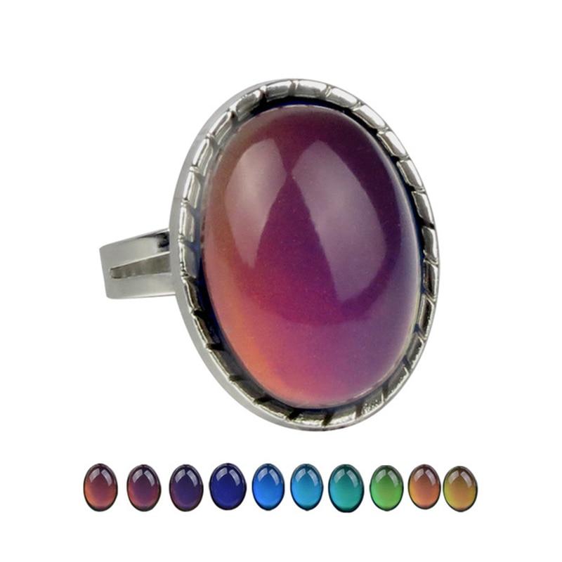Винтажное регулируемое кольцо для женщин и мужчин чувства эмоции изменение цвета настроение температура парные ювелирные кольца