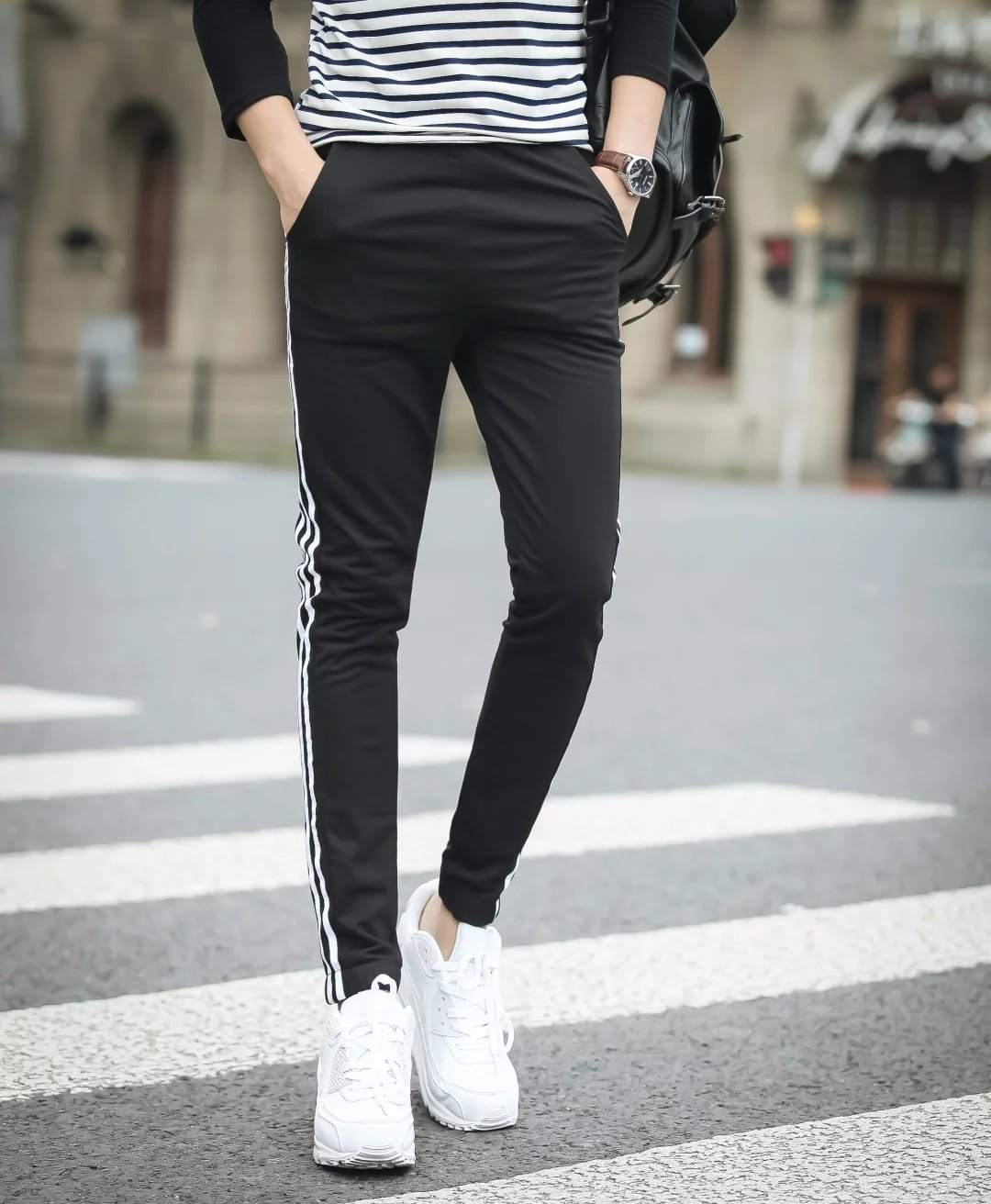 2020 Spring And Autumn New Style Three Bars MEN'S Sports Pants New Style Casual Trousers Men's Korean-style Harem Pants Sweatpan