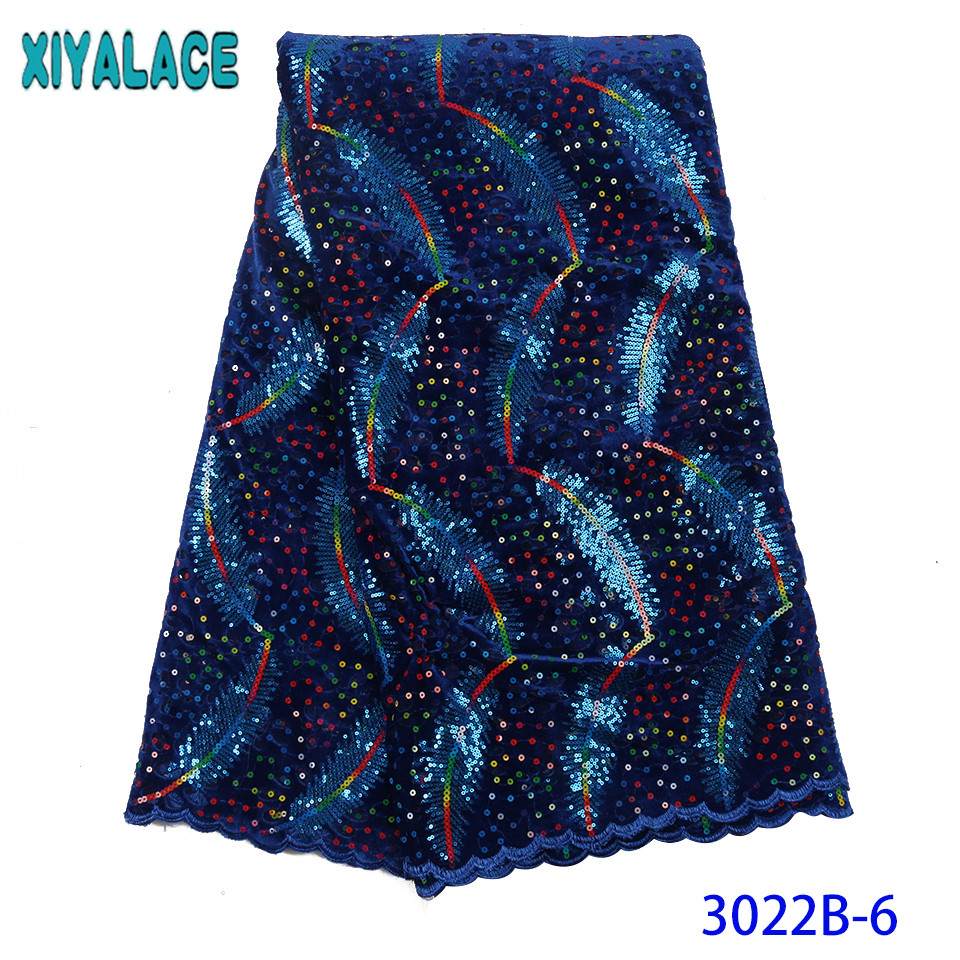 2019 New Design Sequins Velvet Lace African French Velvet Lace Fabric High Quality Nigerian Lace Fabric For Women KS3022B