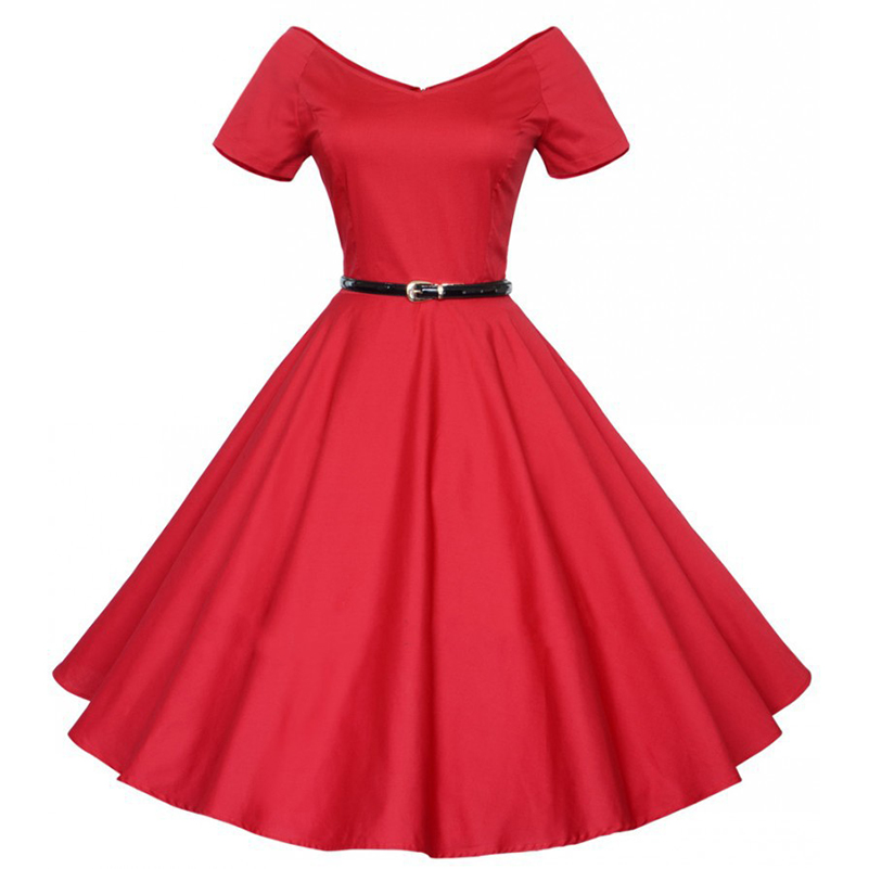 Factory Source Elegant Women Summer Solid Color Belt Big Swing Skirt Short Sleeve V-neck Strapless Shoulder Sexy Party Work Loli thumbnail