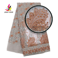 indian tulle fabric lace applique dentelle champagne gold lace gold sequin embroidery fabric beaded applique XZ2924B