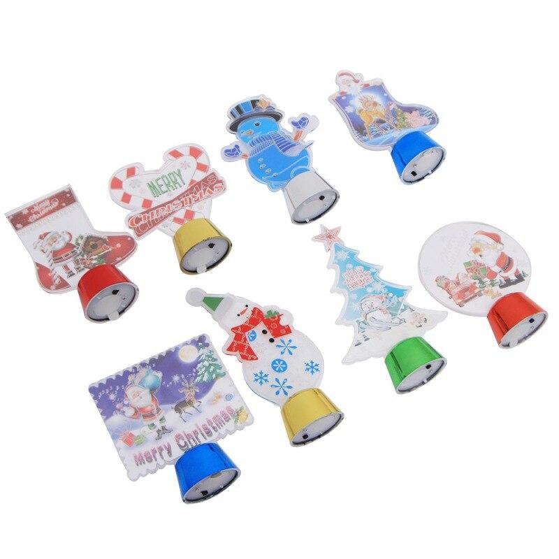Colorido 3D luz de la noche de dibujos animados Navidad lámpara LED decoraciones de Navidad para el hogar regalo de Año Nuevo bola de cristal brillante - 3