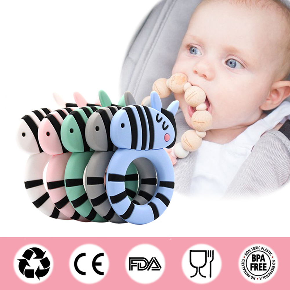 Safety kids teether Baby Teether Oral Care cute animal zebra baby teether baby teeth toys Silicone Cartoon massage gums tooth