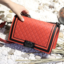 2020 New PU Leather Shoulder Handbag Fashion Rhombus Chain B