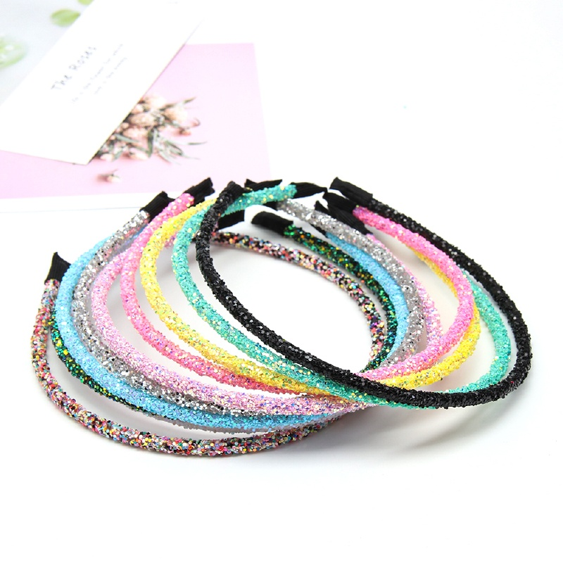 10Pcs/lot Korean Solid Glitter Hairband For Girls Women Fashion Shiny Candy Color Kids Headbands Hair Hoop Hair Accessories