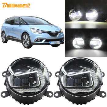 Buildreamen2 Car 90mm Round LED Projector External Fog Light + Daytime Running Light 12V For Renault Grand Scenic 2004-2015