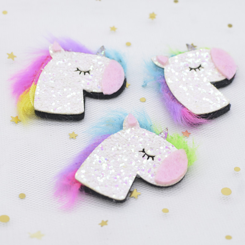 10Pcs/lot 45mm Padded Glitter Fabric Colorful Mane Unicorn Applique for DIY Hat Headwear Decor Hair Clips Accessory Patches C20