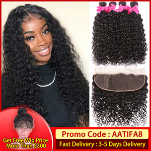 Transparent Lace Brazilian Water Wave Hair Bundles With Closure 3 Bundles With Frontal Water Wave Extension Remy Human Hair(China)