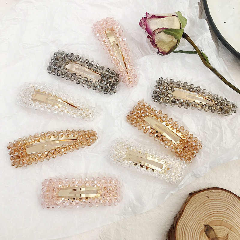 2019 Crystal Hollow Hair Clip For Women Snap Barrette Stick Hairpin Hair Styling Accessories Solid Girls Bobby Pins Fashion