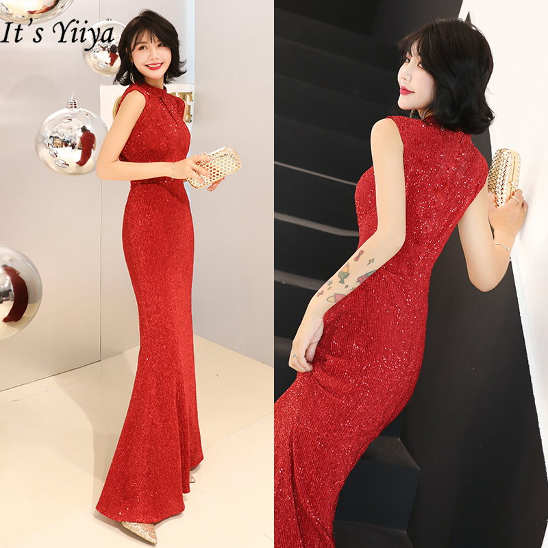 It's Yiiya Sequin Evening Dresses Red Shining Formal Evening Gowns For Women 2020 Long Elegant Dress Mermaid Robe De Soiree K107