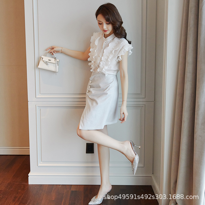 Two-Piece Dress Women's 2019 Summer New Style Korean-style Elegant Slimming Goddess-Style Clothes Single Skirt 9408-2