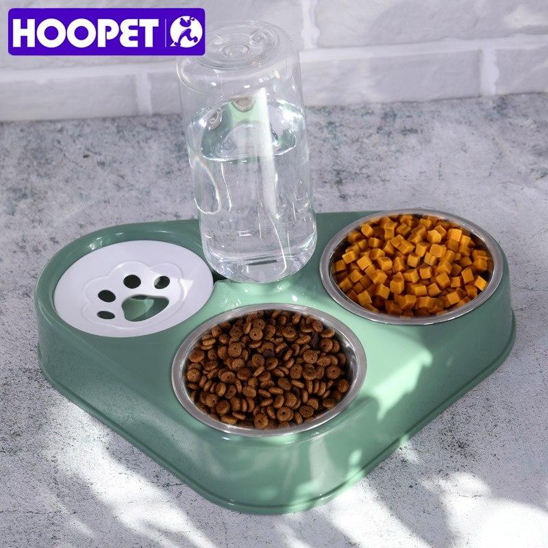 HOOPET Pet Bowl Cat doppie ciotole alimentatore d'acqua per alimenti con distributore automatico di acqua ciotole separate bagnate e asciutte per gatti cane tre ciotole 1
