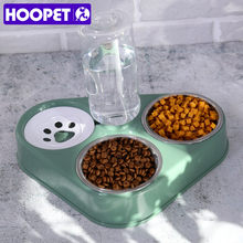 HOOPET Pet Bowl Cat Double Bowls Food Water Feeder with Auto Water Dispenser Wet and dry separate bowls For Cats Dog Three Bowls