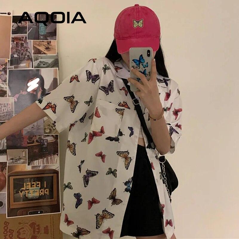Шикарный Vitage с коротким рукавом Свободная женская блуза рубашка Y2K с принтом бабочки на пуговицах два кармана женские рубашки 2020 летние блу...