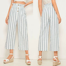 Goocheer Women New Fashion Stripe Wide Leg Button Elastic Waist Casual Trousers Crop Pants