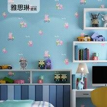 Хорошее качество детская комната обои мальчик девочка розовый синий поросенок pecs обои мультфильм спальня магазин одежды детские обои
