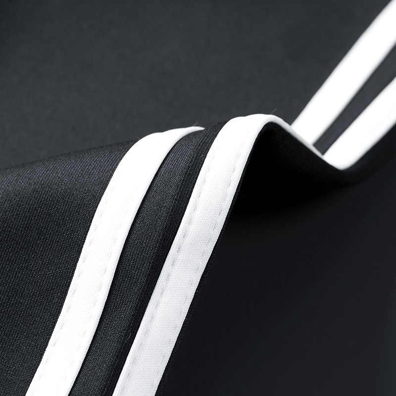 새로운 2020 2 pcs 자켓 + 바지 정장 지퍼 패치 워크 tracksuit 남자 세트 대조 줄무늬 땀 캐주얼 까마귀 남자 세트 스웨트 남자