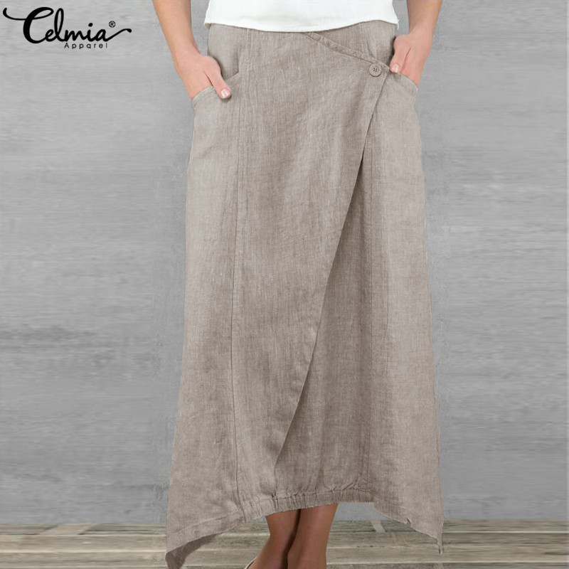 Celmia 2019 Spring Summer Maxi Skirt Women Retro Long Skirt Casual Loose Pockets Asymmetrical Linen Skirt Jupe Saia Femme Faldas