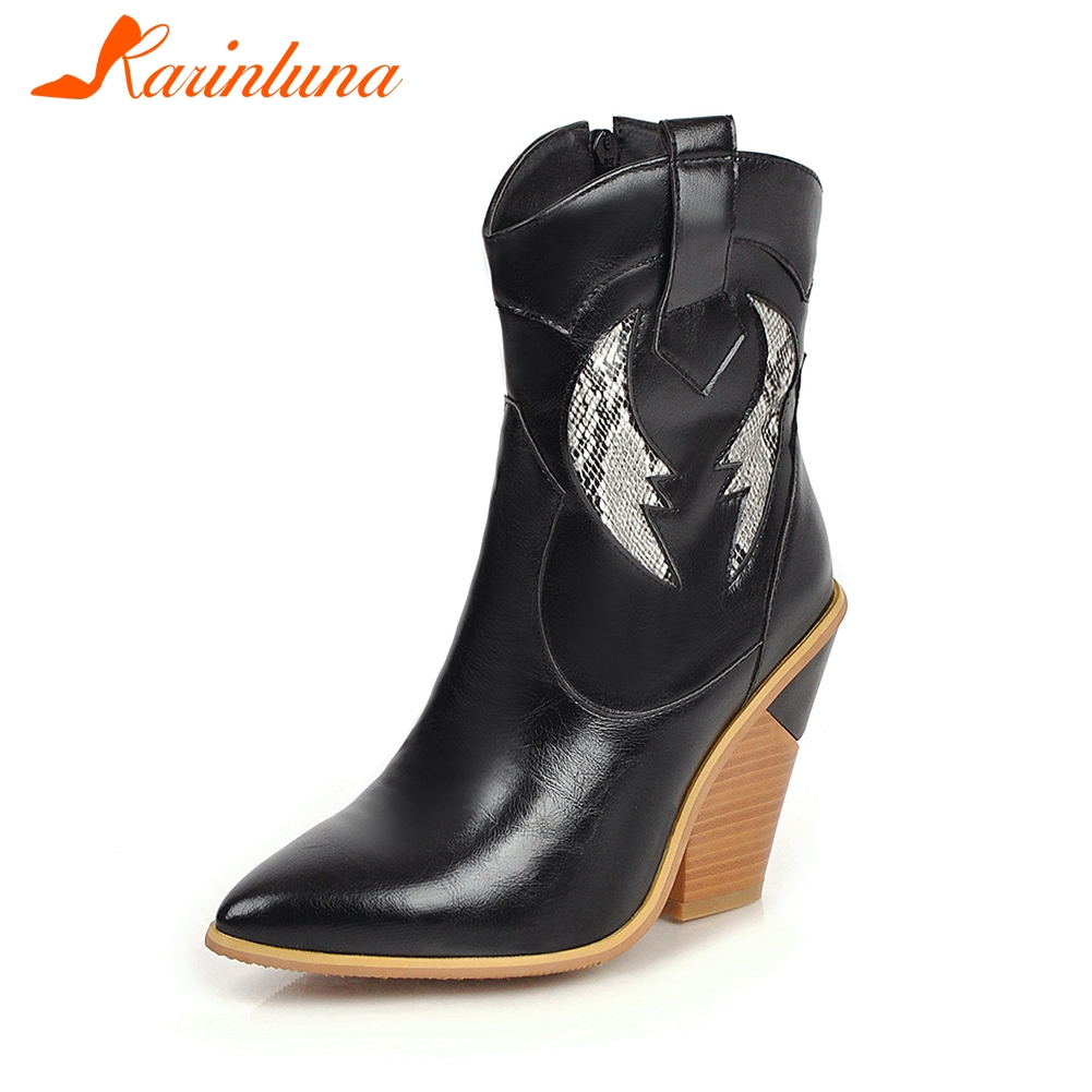 KARINLUNA New Autumn Plus Size 33 46 Brand Booties Lady Ankle Western Boots Women 2019 Fashion Black High Heels OL Shoes Woman in Ankle Boots from Shoes