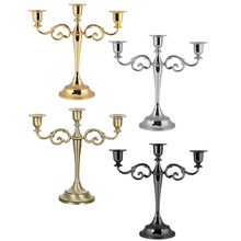 3-Arms Metal Candelabra Candlestick European Candle Holder Candle Stand for Wedding Christmas Party Dinner Home Decoration silver gold 3 arms metal pillar candle holders candlestick wedding decoration stand mariage home decor candelabra