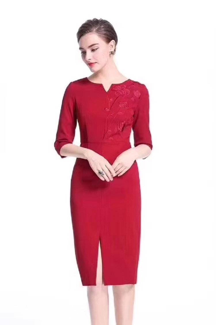 2020 Spring Fashion Bodycon Dress Plus Size Xxxl Women Lurex Embroidery Split Sexy 3 4 Sleeve Wine Red Black Dress Robe Femmes Dresses Aliexpress