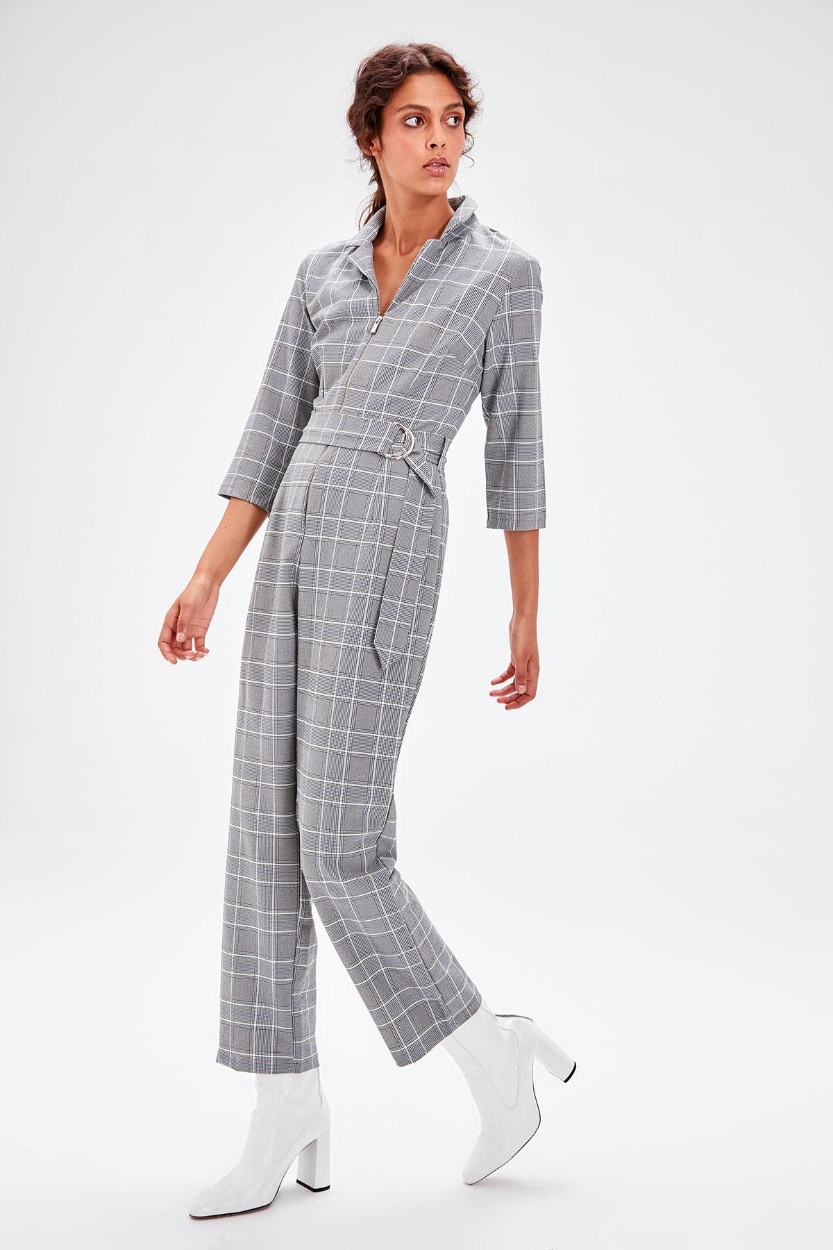Trendyol Gray Plaid Jumpsuit TWOAW20TU0045