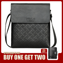 VICUNA POLO New Arrival Plaid Leather Men Business Shoulder Bag