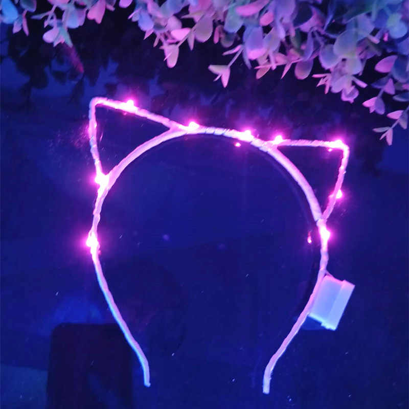 1PC Led Ohr Katze Geformt LED Stirnbänder Party Licht Up Blinkt blinkt Partei Headwear Weihnachten Haar Zubehör Glow Party