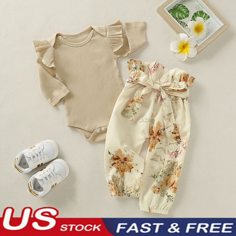Newborn Baby Girl Ruffle Knitted Long Sleeve Romper Floral Pants Outfit Set