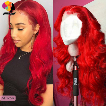 Remyblue Body Wave Wig 13*4 Red Burgundy 150 density Lace Front Human Hair Wig For Women Colored Peruvian Remy Human Hair Wigs remyblue body wave wig 13 4 red burgundy 150 density lace front human hair wig for women colored peruvian remy human hair wigs