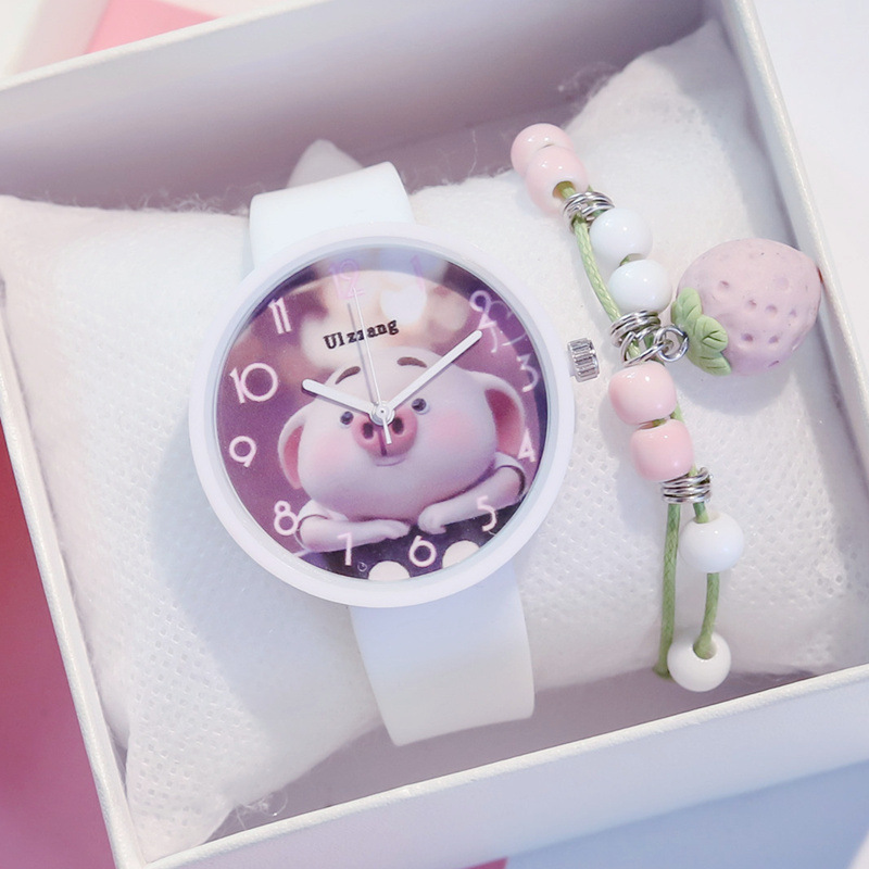 Lovely Cartoon Pig Children Quartz Watches Cute Silicone Candy Child's Fashion Casual Watch Student Boys Girls Sweet Watches