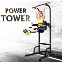 ONETWOFIT Portable Power Tower Horizontal Bar Pull Up Bar Dip Station Fitness Equipment for Home Gym Indoor Exercise Workout