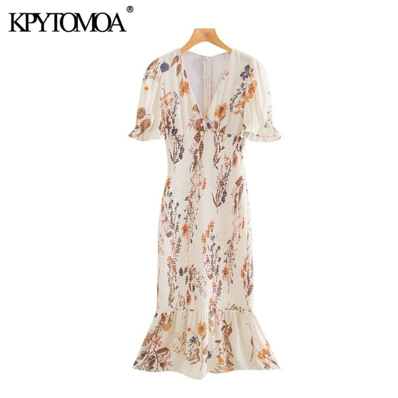 KPYTOMOA Women 2020 Chic Fashion Floral Print Ruffled Sheath Midi Dress Vintage Back Zipper Stretchy Slim Female Dresses Mujer
