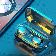 سماعات أذن FANGTUOSI TWS مزودة بتقنية البلوتوث 2200 مللي أمبير في الساعة صندوق شحن سماعة أذن ستيريو رياضية لاسلكية مع ميكروفون للتحكم باللمس