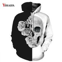Newest 3D Sweatshirt Black White Floral Skull Graphic Mens Womens Hoodies Hip Hop Streetwear Halloween Pullover Tracksuit Tops