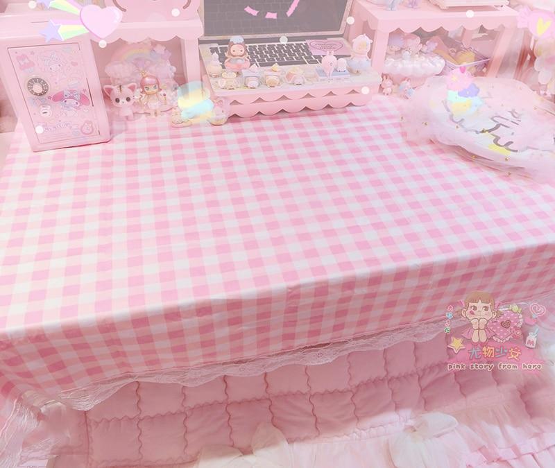 White Pink Grid Lace Tablecloth Cotton Rectangle Table Cloth Home Hotel Textile Decor 100*160cm