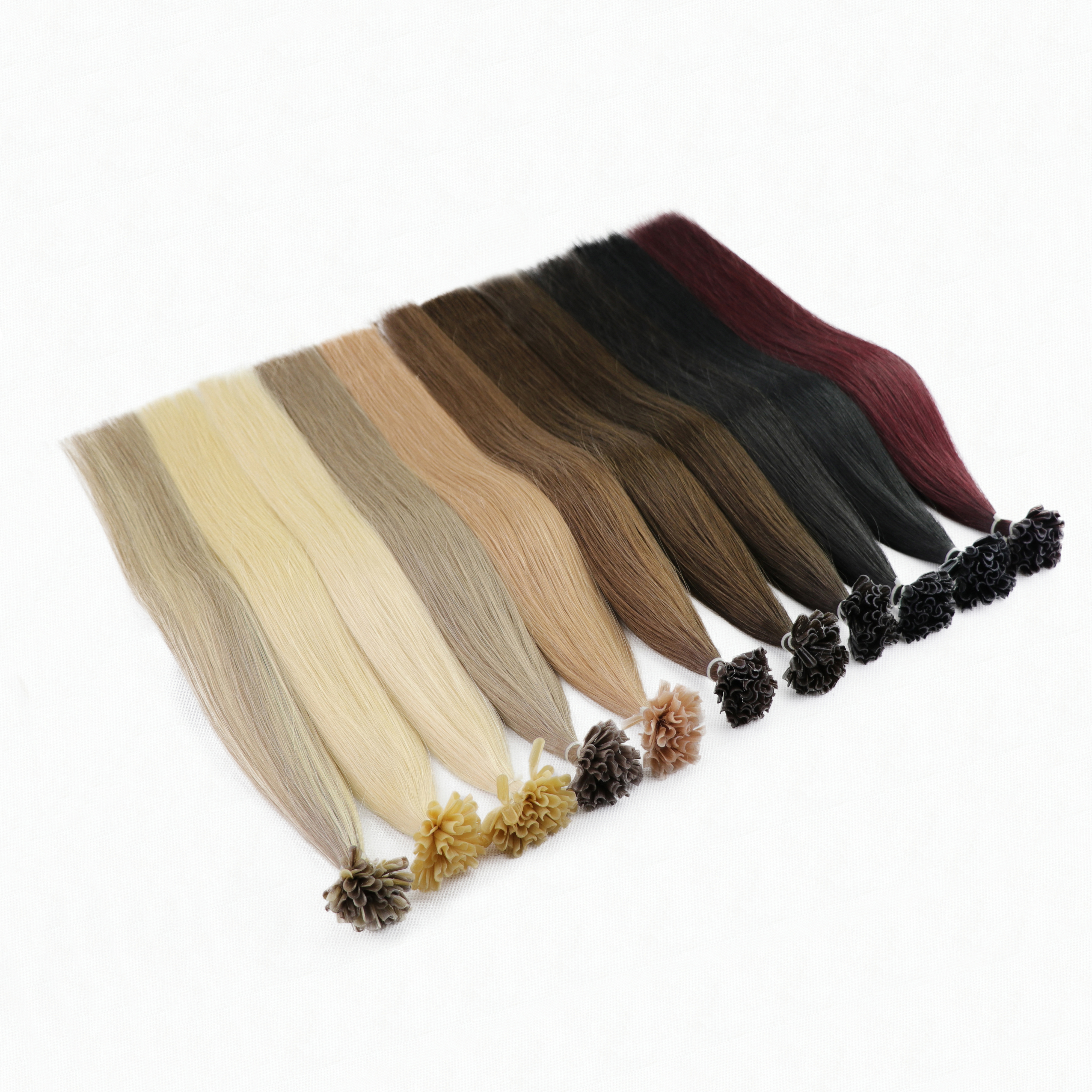 """LuxyBeauty 1g/pc 50/75pcs 12""""-22"""" Nail Hair Remy Fusion Hair Extensions Straight Machine Made Keratin Human Hair 8 Color"""