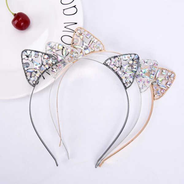 Orelhas de gato tiara bandana para cabelo feminino strass princesa oco hairband orelhas de gato moldura acessórios de cabelo prata