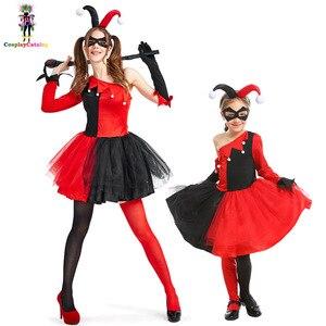 Костюм для хеллоуина с обратным героем Харли Куинн, платья для мамы и дочки в стиле цирка клоуна, Карнавальная форма для вечеринки, костюмы д...