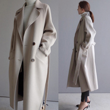 Women Winter Coats 2019 Autumn and Winter New Large Size Women's Solid Color Lapel Loose Long Double-sided Wool Coat Female jas