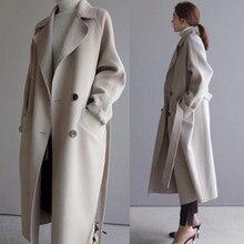 Damskie zimowe płaszcze 2019 jesienne i zimowe nowe duże rozmiary damskie jednokolorowe klapy luźny długi podwójny płaszcz z wełny damskie jas