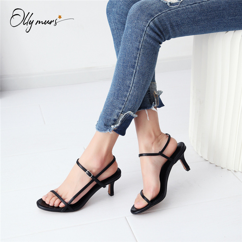 OllyMurs Fashion Style Summer Black Women Sandals Open Toe Buckle Strap Thin High Heel Women Sandals Ladies Party Shoes Woman