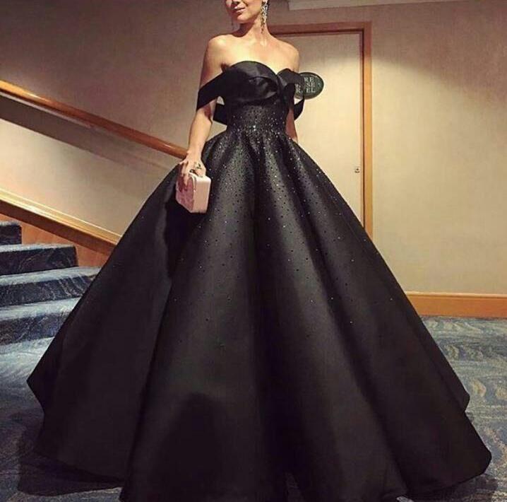 Elegant Black Ball Gowns Sweetheart Neck Off Shoulder Beading Formal Evening Gown Vestido De Noiva Mother Of The Bride Dresses