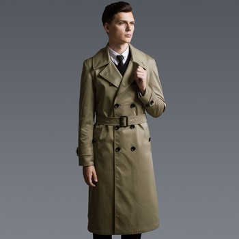 British Style Men Double Breasted Long Trench Plus Size Spring Autumn Casual Windbreaker Slim Khaki Waterproof Classic Trench
