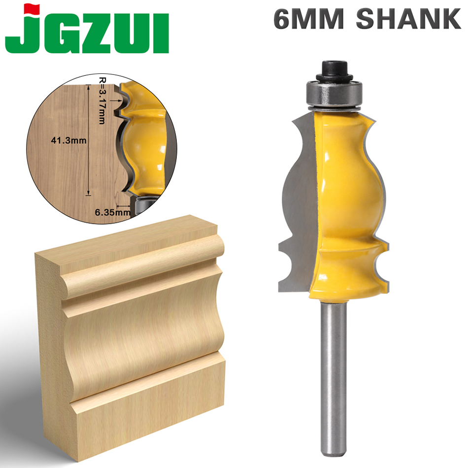 1PC 6mm Shank Architectural Cemented Carbide Molding Router Bit Trimming Wood Milling Cutter For Woodwork Cutter Power Tools