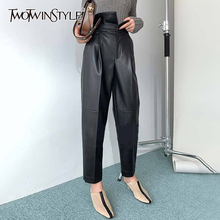 TWOTWINSTYLE PU Leather Harem Pants For Women High Waist Ankle Length Black Casual Trousers Female Fashion New Clothing 2020