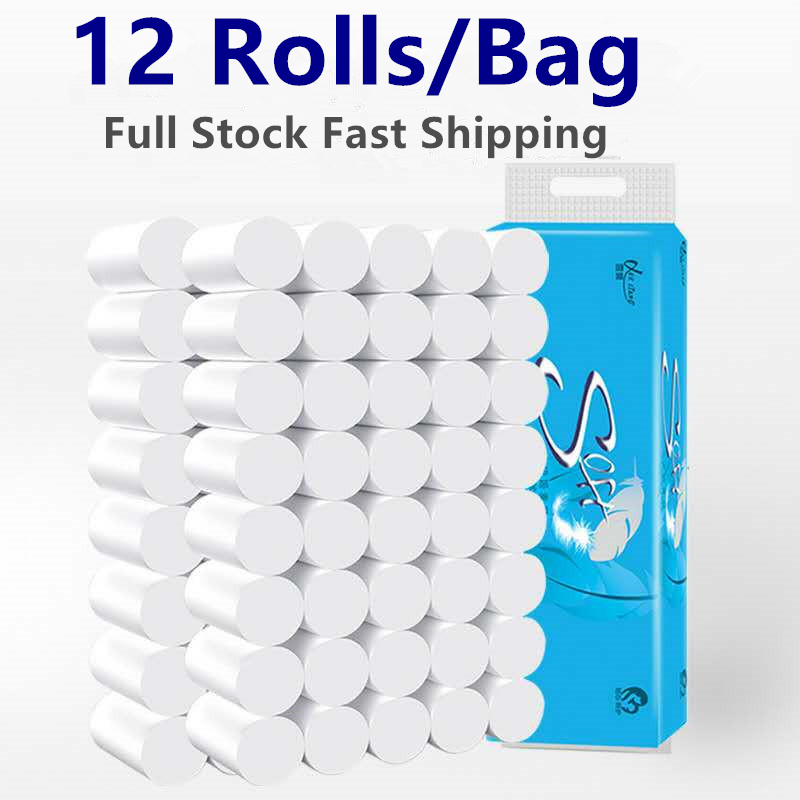 12 Rolls/Lot Fast Shipping Roll Paper Toilet Paper 4 Layers Bathroom Toilet Kitchen Paper Tissue Cleaning Paper Wood Pulp Paper