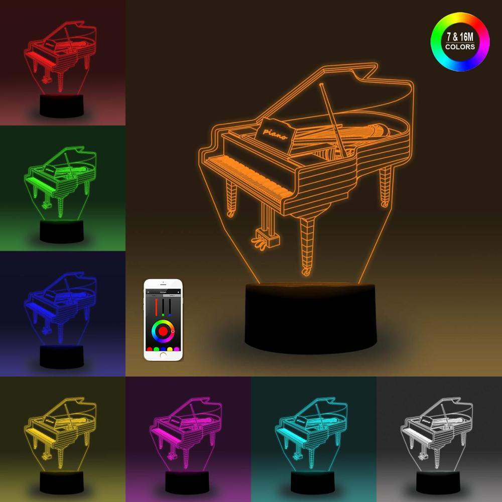 NiteApps 3D Piano Night Light Desk Table Illusion Decoration Lamp Holiday Birthday Gift APP/Touch Control