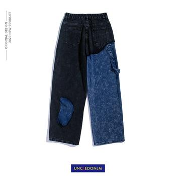 UNCLEDONJM Stitching Ripped Jeans Hip Hop Loose Wide Leg Straight-Leg Pants  biker jeans  Distressed  denim jeans men AN-C061 star print hemming design distressed zipper fly straight leg jeans