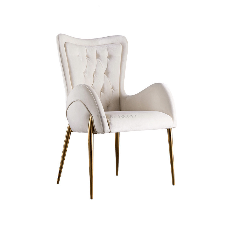 Luxury Living Room Furniture Brushed Pull Buckle Luxury Hotel Dining Chair Western Restaurant American Retro Solid Wood Chair